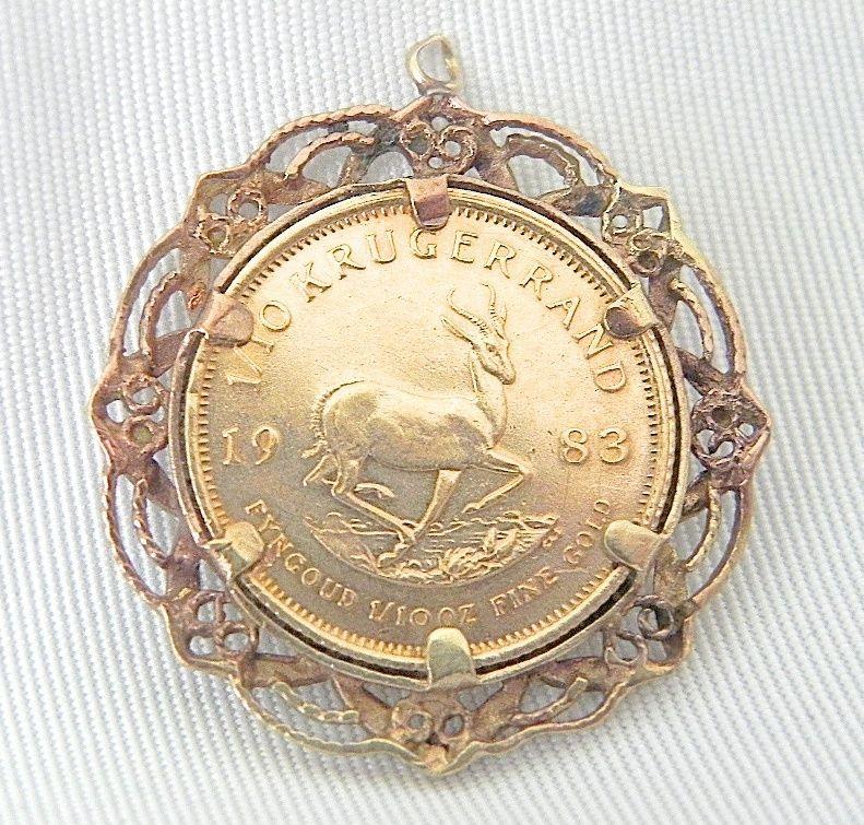 1983 1 10 Oz Krugerrand Gold Coin Pendant South Africa Gold Coins Coin Pendant Pendant