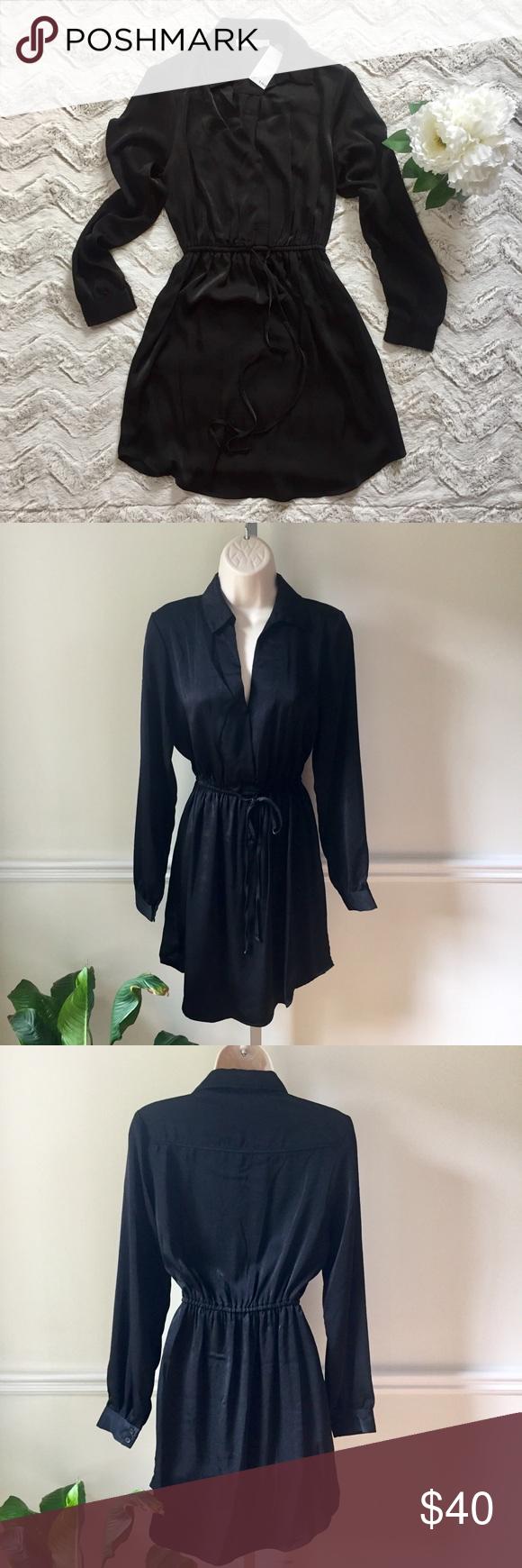 New nwt lush little black dress silky long sleeve nwt in my