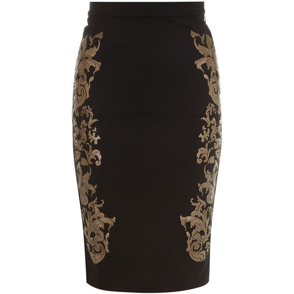Dorothy Perkins Black and 3D gold baroque skirt