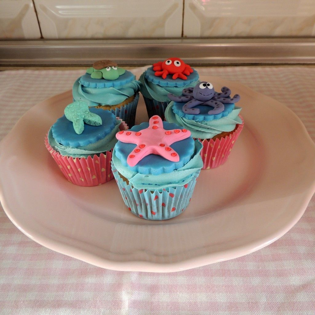 Little mermaid cupcakes for a hen party mermaid birthday
