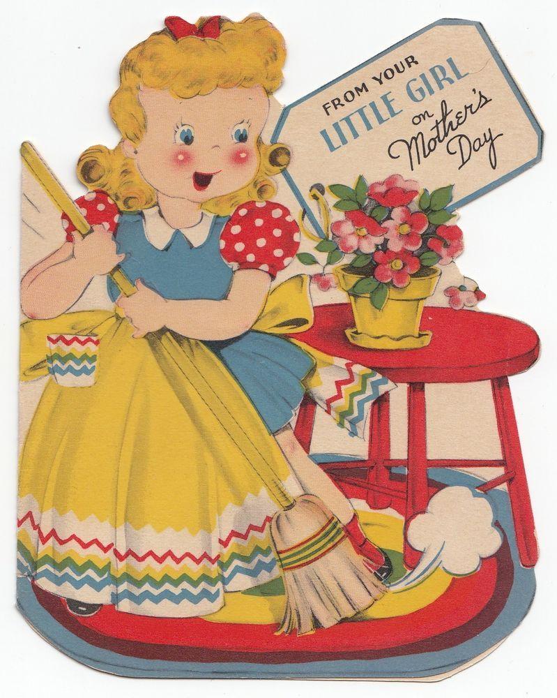 Vintage Greeting Card Girl Broom Sweeping Die-Cut Paramount 1940s e660