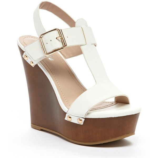 Springland White Rio T-Strap Wedge ($11) ❤ liked on Polyvore featuring shoes, sandals, high heel sandals, platform wedge sandals, wedge heel sandals, platform sandals and white platform shoes