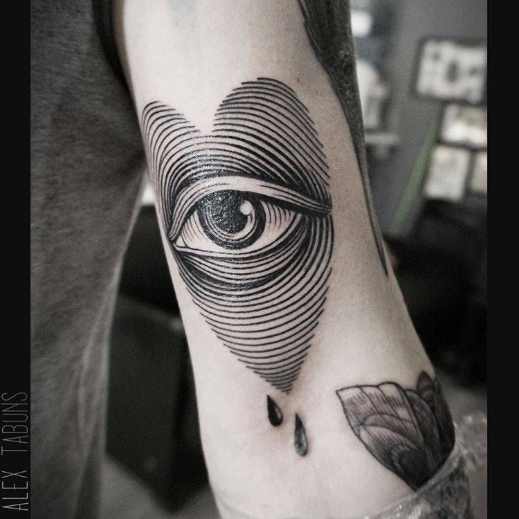 Heart eye tattoo on the left bicep tattoo artist alex for Small eye tattoo