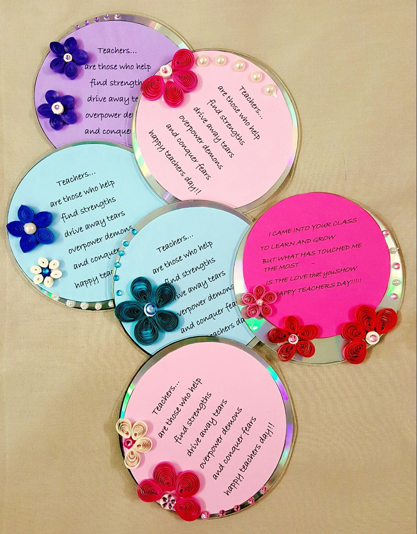 Teachers day cards | quilling on cd | Pinterest | Teacher ...