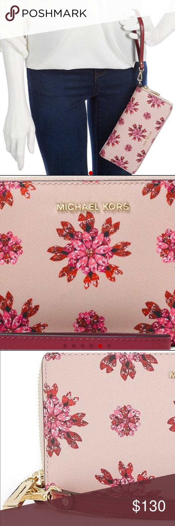 f0b006a2dd2f Michael Kors Travel Continental Wallet soft pink Michael Kors Soft Pink Ultra  Pink Jet Set Floral Jewel Travel Continental Wallet 8.25…