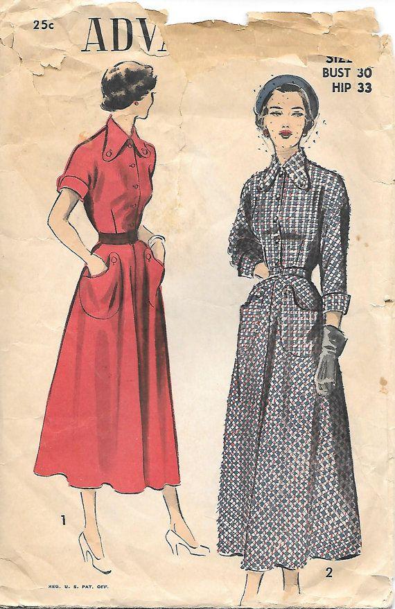1940s Shirtwaist Dress Advance 5221 Sewing Pattern, by ...