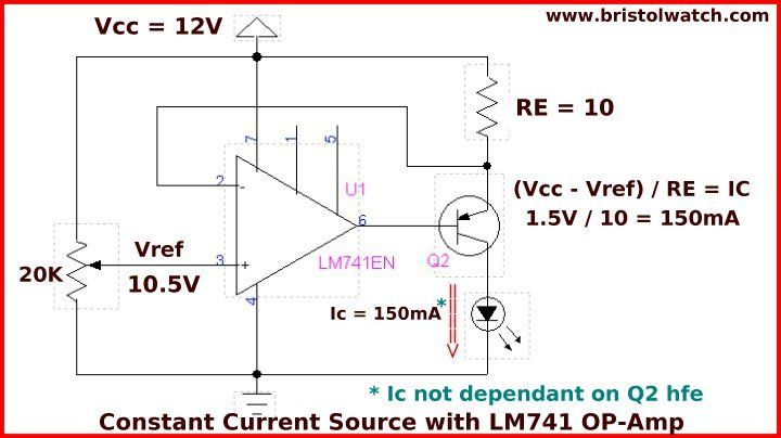 constant current circuit with a 741 op amp and a pnp transistor rh pinterest com 5Amp Constant Current Circuit Diagram Electric Current Limiter