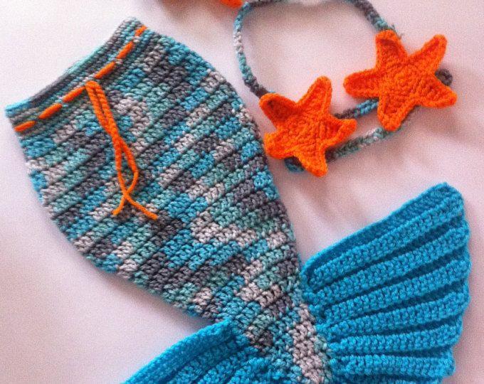 Crochet bebé sirena traje sirena cola sirena foto Prop sirena bebé ...