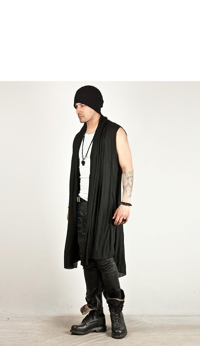 ae0826a6466635 Avant-garde draping long sleeveless hood cardigan - 45