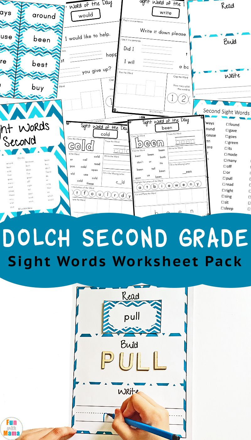 Worksheets Second Grade Sight Words Worksheets dolch second grade sight words pinterest worksheets and activities pack via funwithmama