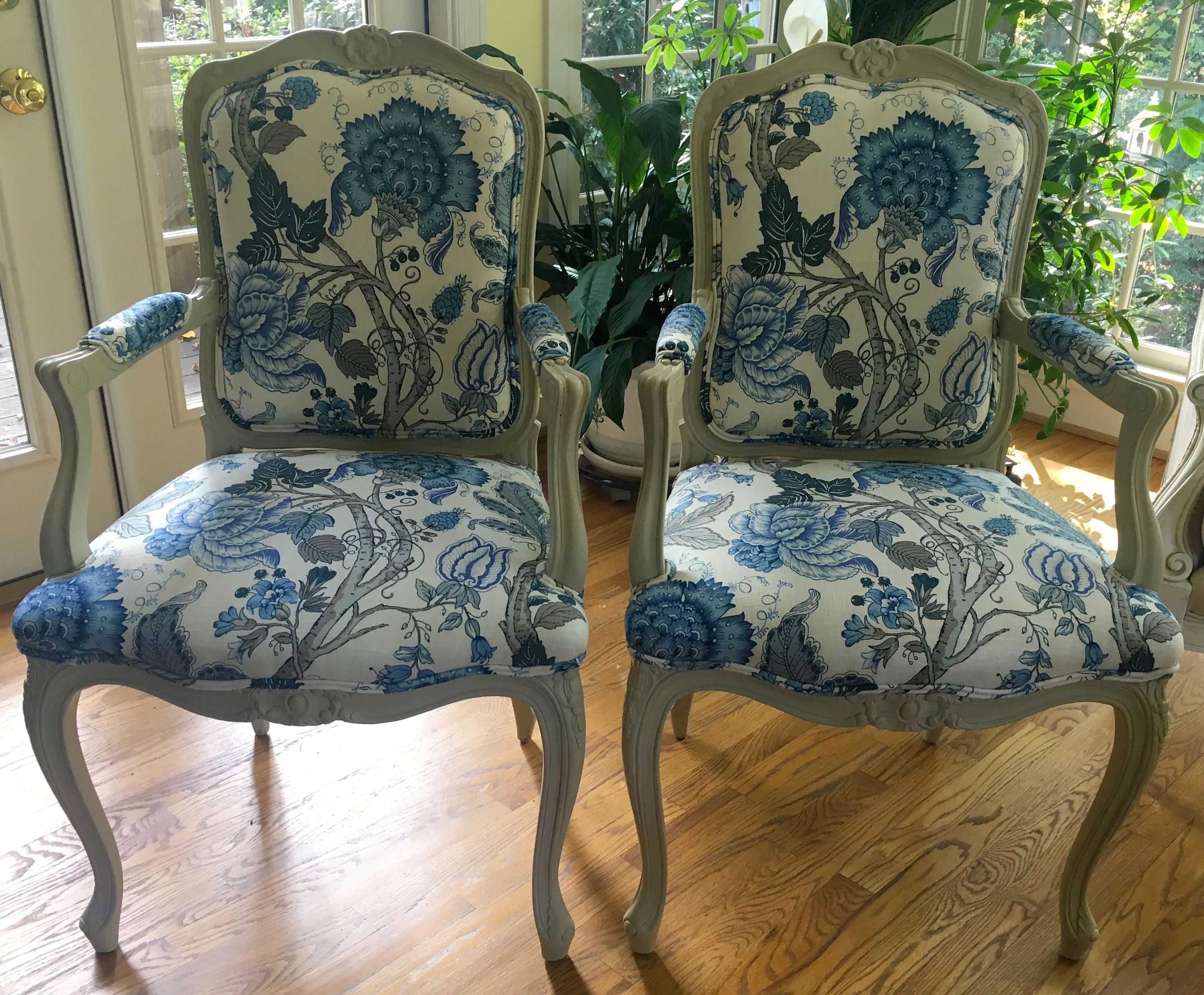 Pair Of French Style Chairs In Blue Patterned Linen Blend