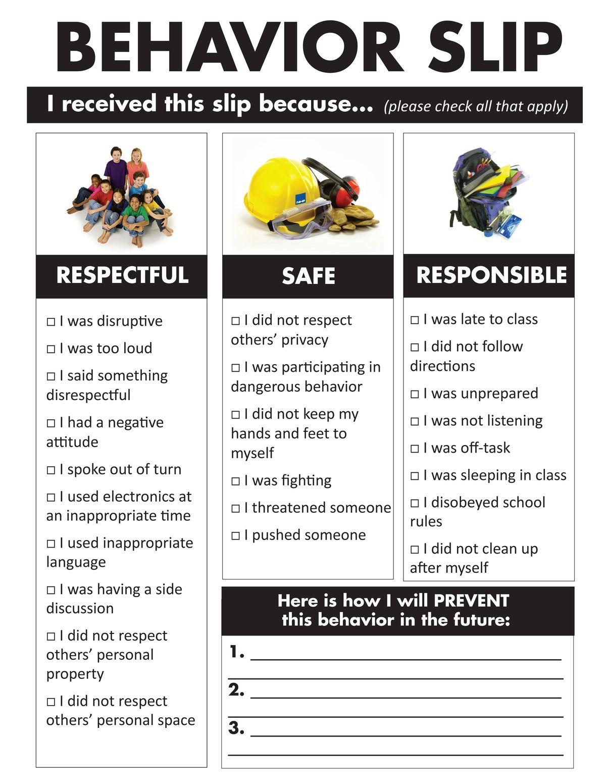 Back To School Behavior Flash Cards Classroom Behavior School