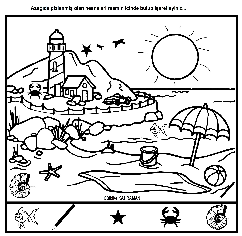 Okul Oncesi Resimdeki Gizli Nesneleri Bulma Evde Egitim Boyama Sayfalari Faaliyetler