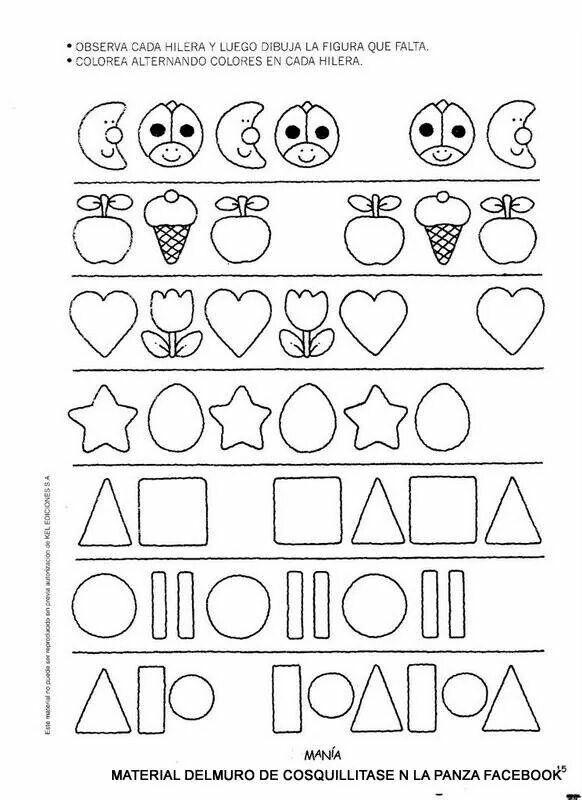 Sigue El Patrón Preescolar Matemáticas Preescolar Primaria