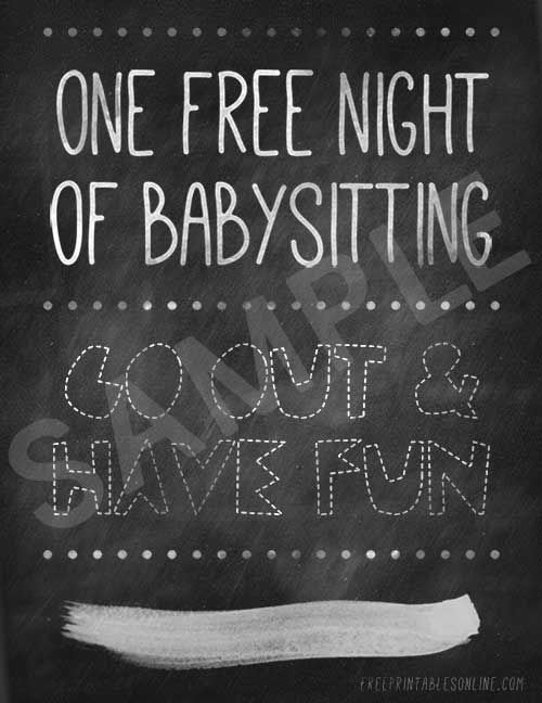 One Free Night of Babysitting (Free Printables Online) kid stuff