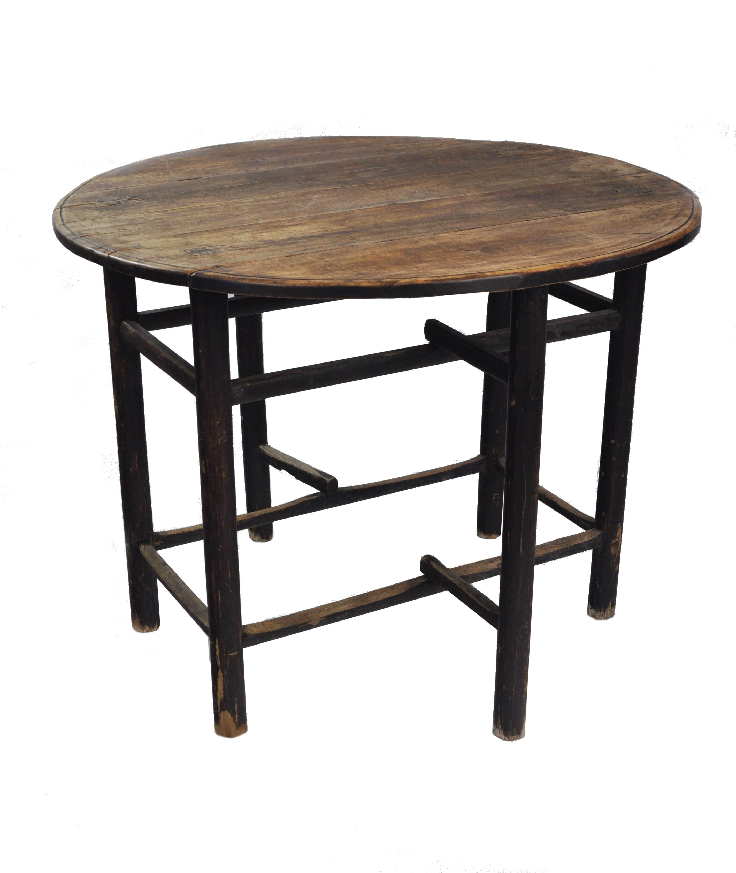 Antique Asian Round Top Concession Table With High And Low Stretcher, Six  Legs And Drop