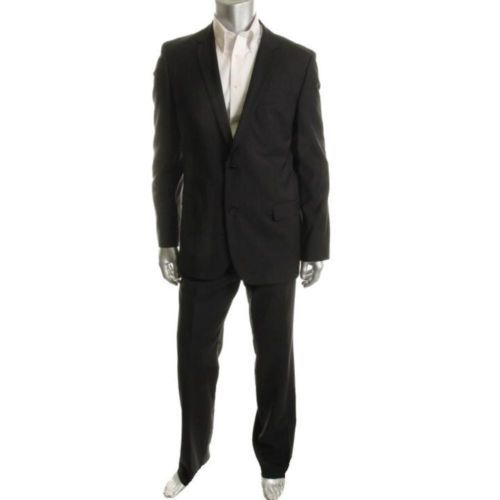 Hugo Boss New Astro Hill Black Wool Flat Front 2pc Two Button Suit 42L 33 BHFO