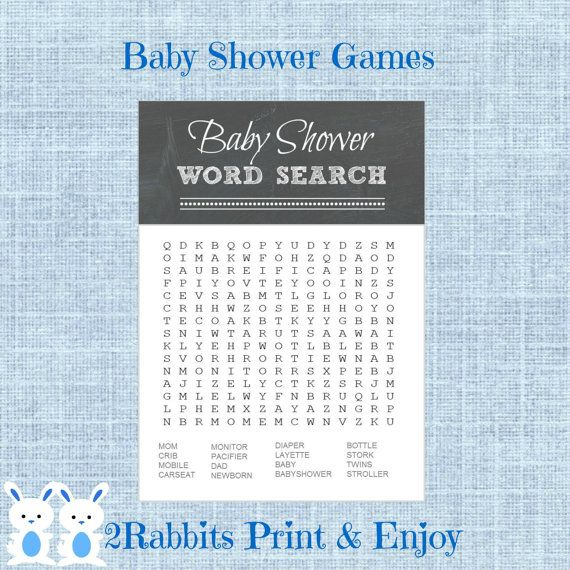 Chalkboard Baby Shower Word Search Game Rustic Baby Shower Crossword