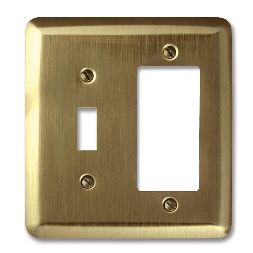 Amerelle Steel 1 Toggle 1 Decora Wall Plate Brushed Brass