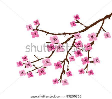 Vector Cherry Blossom Branch By Lilac Via Shutterstock Kirschblutenzweige Kirschbluten Baum Blumen Tattoo Rucken