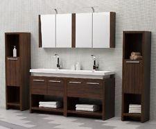 Double Vanity Unit Twin Sink In Walnut Modern Bathroom Vanity
