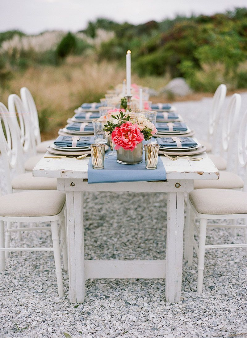 Peach And Navy Blue Charleston Inspired Wedding Reception Table Setting    The Celebration Society