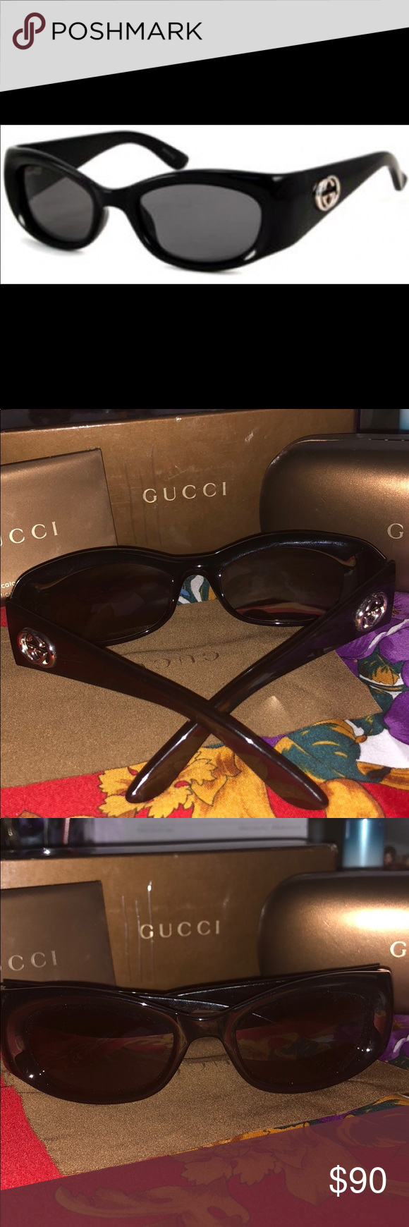 8d01de906a4 Authentic Black Gucci Sunglasses Black Gucci sunglasses with silver GG logo  on sides. Comes with everything in photos. Accessories Sunglasses