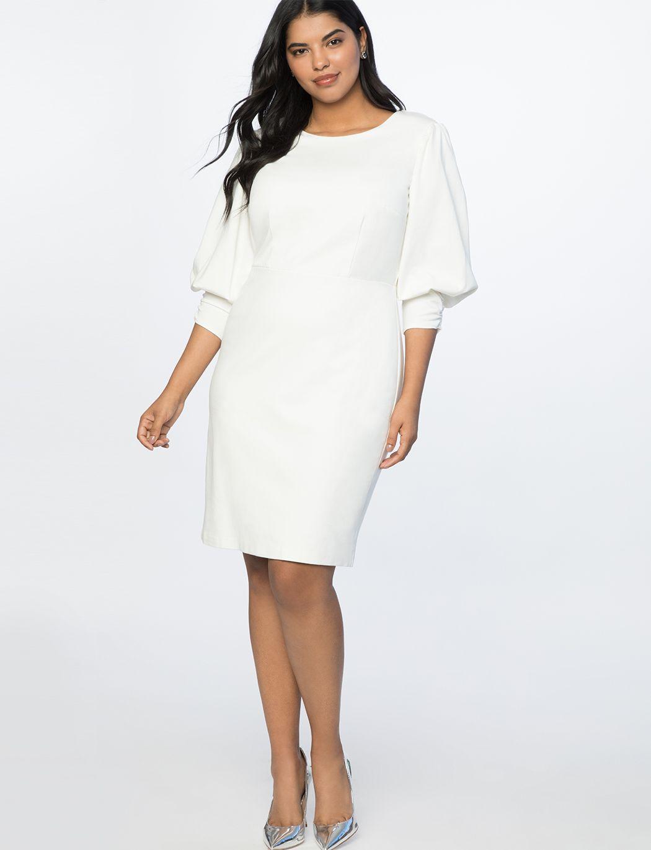 Drama Sleeve Dress Women S Plus Size Dresses Eloquii Rehearsal Dinner Dresses Dinner Dress White Plus Size Dresses [ 1370 x 1050 Pixel ]