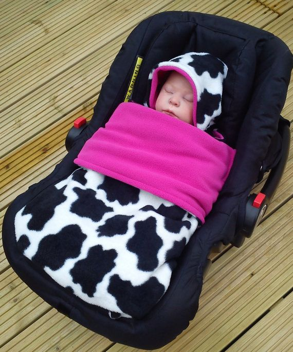 Car Seat Cosy Wrap Swaddle Blanket Cow Print Black And White Lined