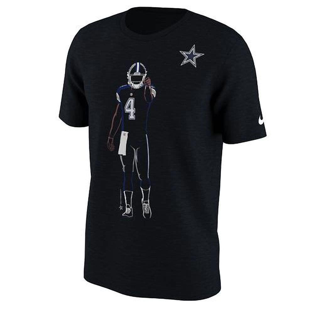 76972961c Nike Dallas Cowboys Dak Prescott Player Silhouette 2.0 Mens Shirt M Black   Nike