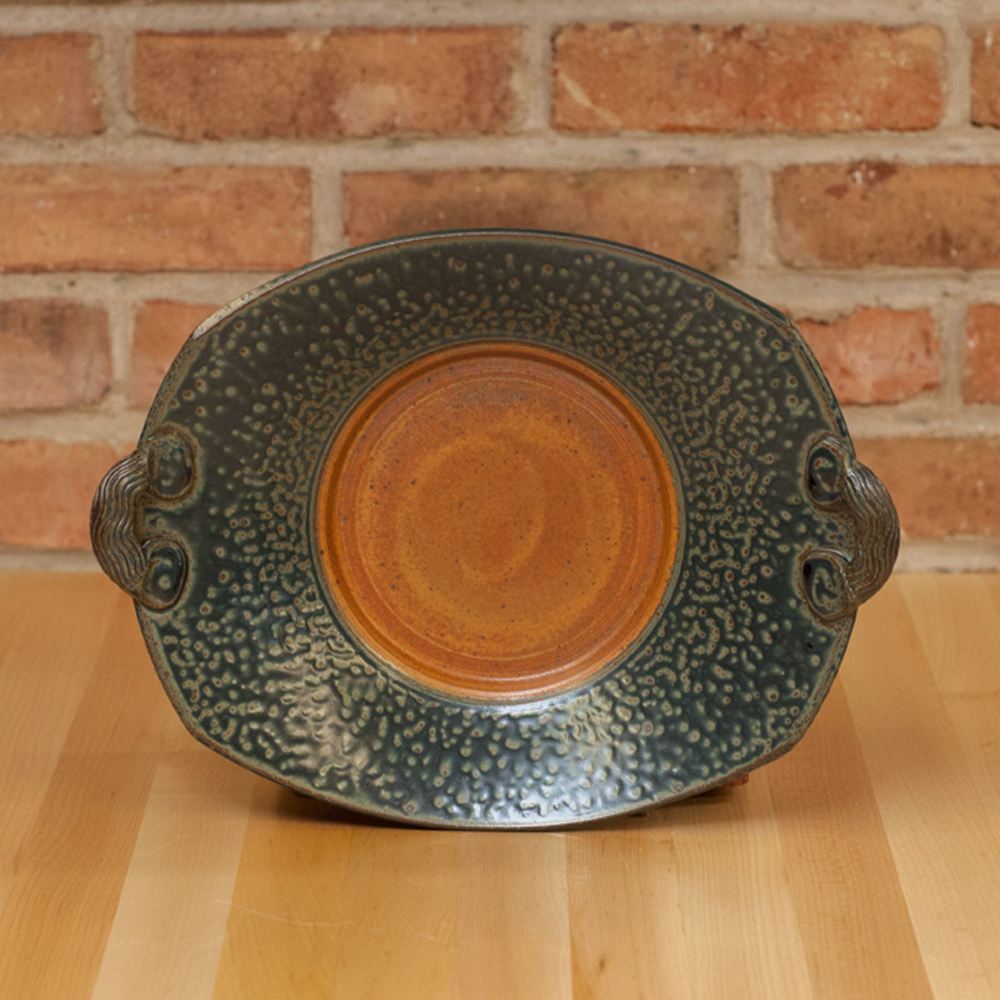 Royce Yoder - Rectangle Handled Plate in Tan | Ash Glaze