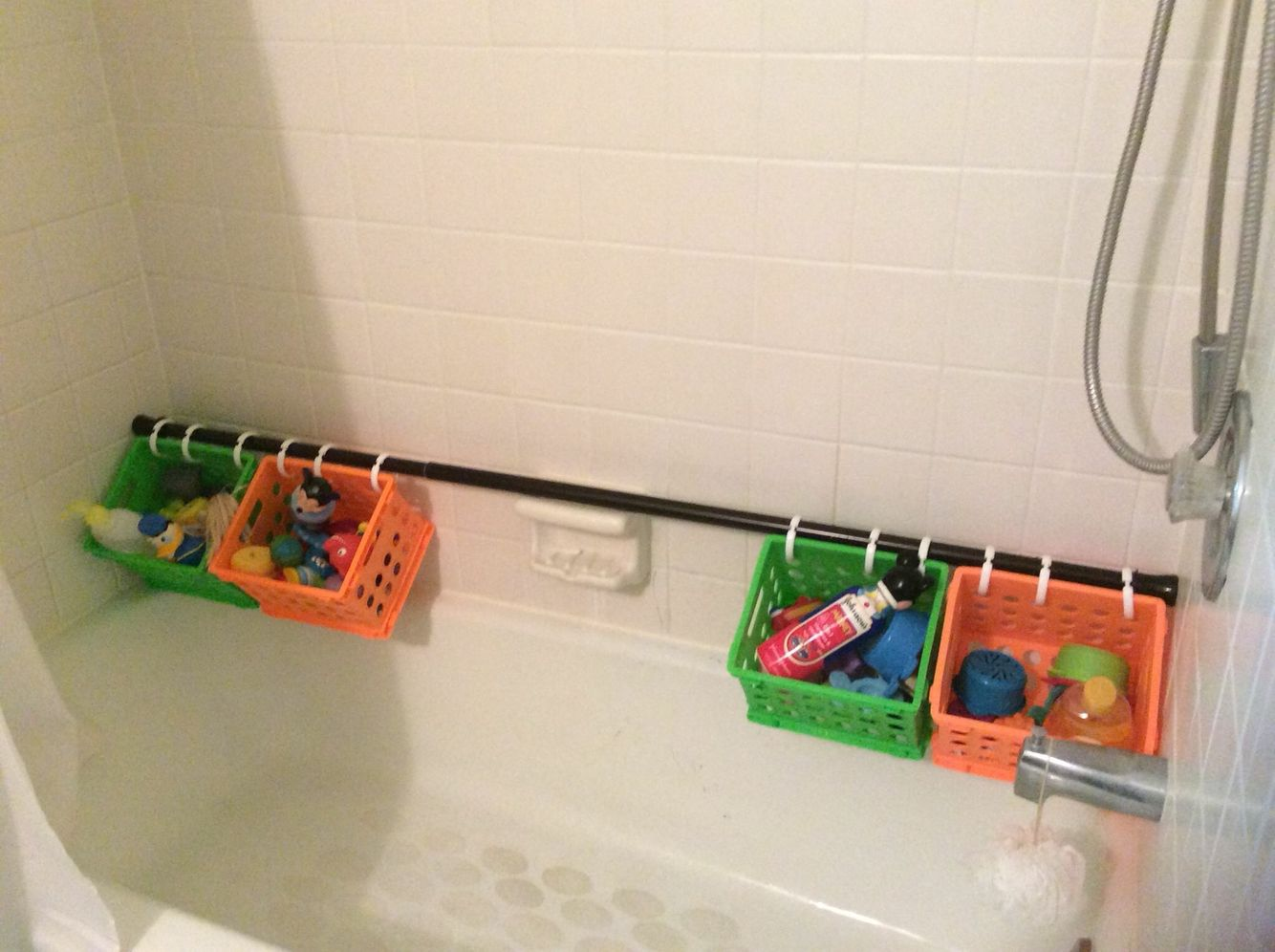 Tension shower curtain rod, shower curtain rings, plastic baskets ...
