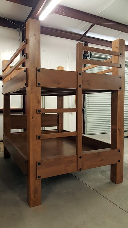 Tall Queen Over Queen Bunk Bed With Integrated Ladder Shown In