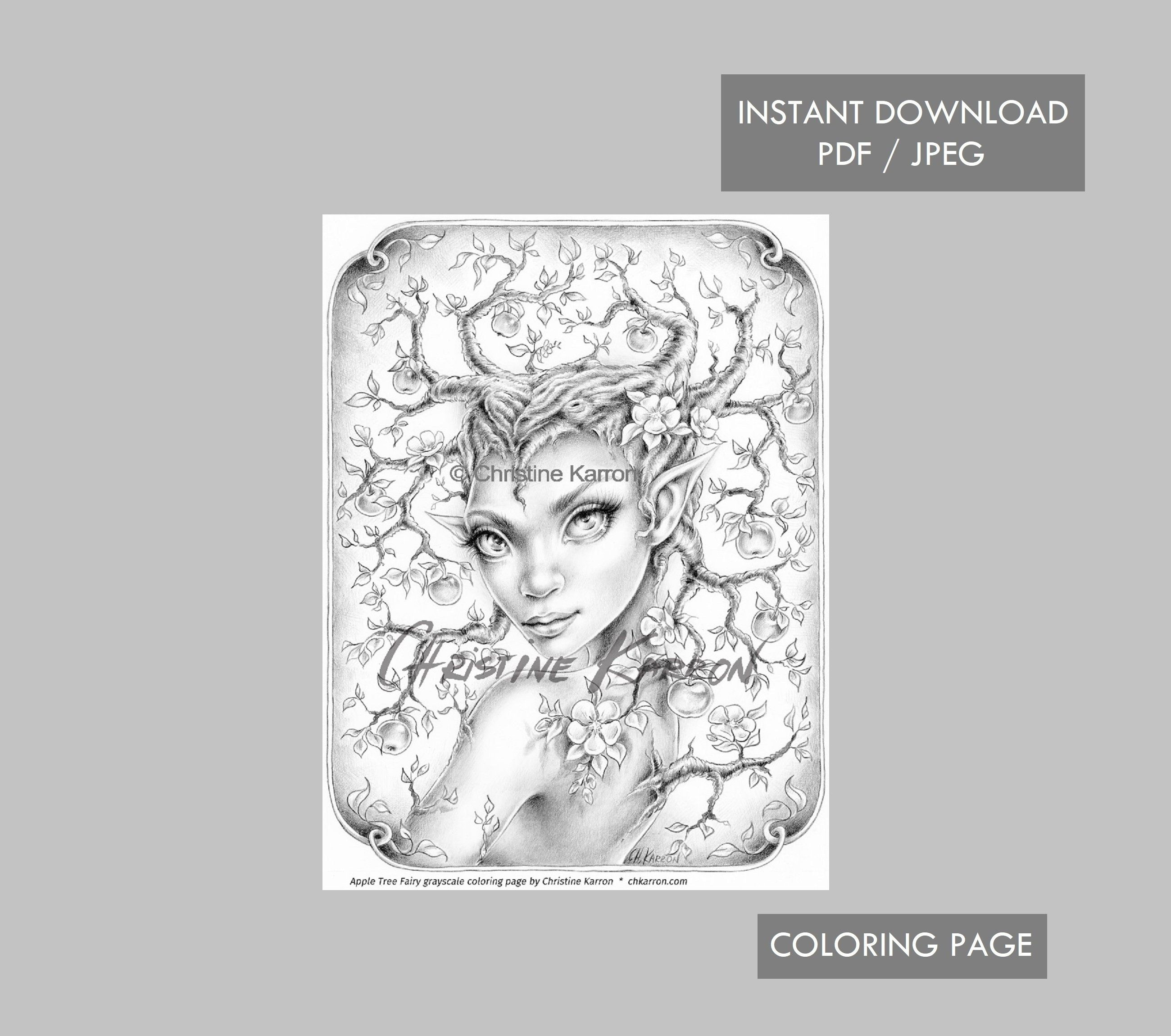 Apple Tree Fairy Coloring Page Grayscale Instant Download Printable File Jpeg And Pdf Fairy Coloring Pages Fairy Coloring Coloring Pages [ 2300 x 2600 Pixel ]