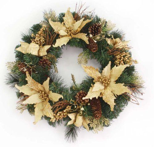 Artificial Christmas Wreath - 22'' by Gordon Companies, Inc. $45.00. Shipping Weight: 3.00 lbs. Picture may wrongfully represent. Please read title and description thoroughly.. This product may be prohibited inbound shipment to your destination.. Please refer to SKU# ATR25760496 when you inquire.. Brand Name: Gordon Companies, Inc Mfg#: 30668122. Artificial Christmas wreath/pre-decorated/poinsettia/gold/twig/berries/leaves/pine cones/not lit/22'' dia./made of glitter, pine, n...