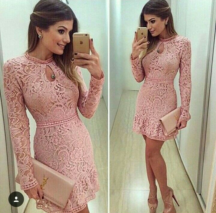Sexy Women Long Sleeve Prom Ball Cocktail Party Lace Mini Dress