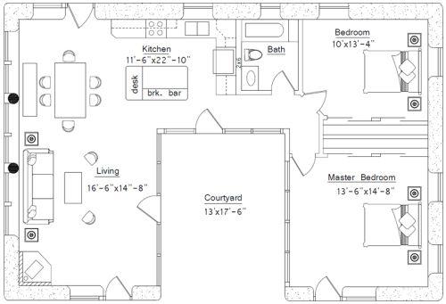 Straw Bale Courtyard House Plans Mediterranean Floor Plans Courtyard House