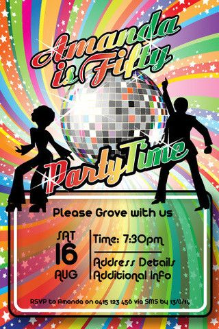 70's disco birthday party digital printable invitation template, Birthday invitations