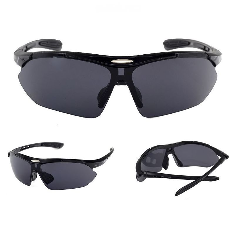 018bb44181 Cycling Sport Sunglasses Half-Rim Wrap Around Vented Frame Polished Black  Gray