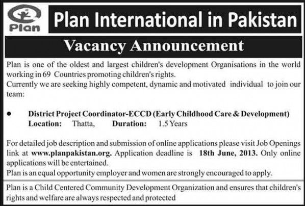 District Project Coordinator ECCD Job, Plan International in - project coordinator job description