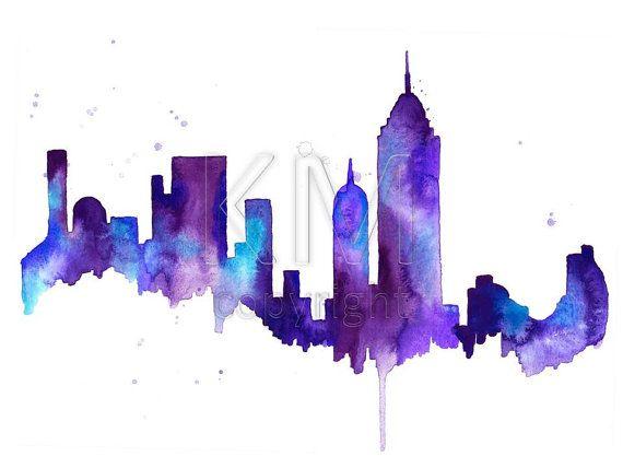 NEW YORK CITY SKYLINE PRINT WATERCOLOUR  PICTURE POSTER POP ART