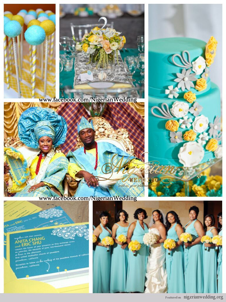Nigerian wedding colors mint blue u yellow weddin things