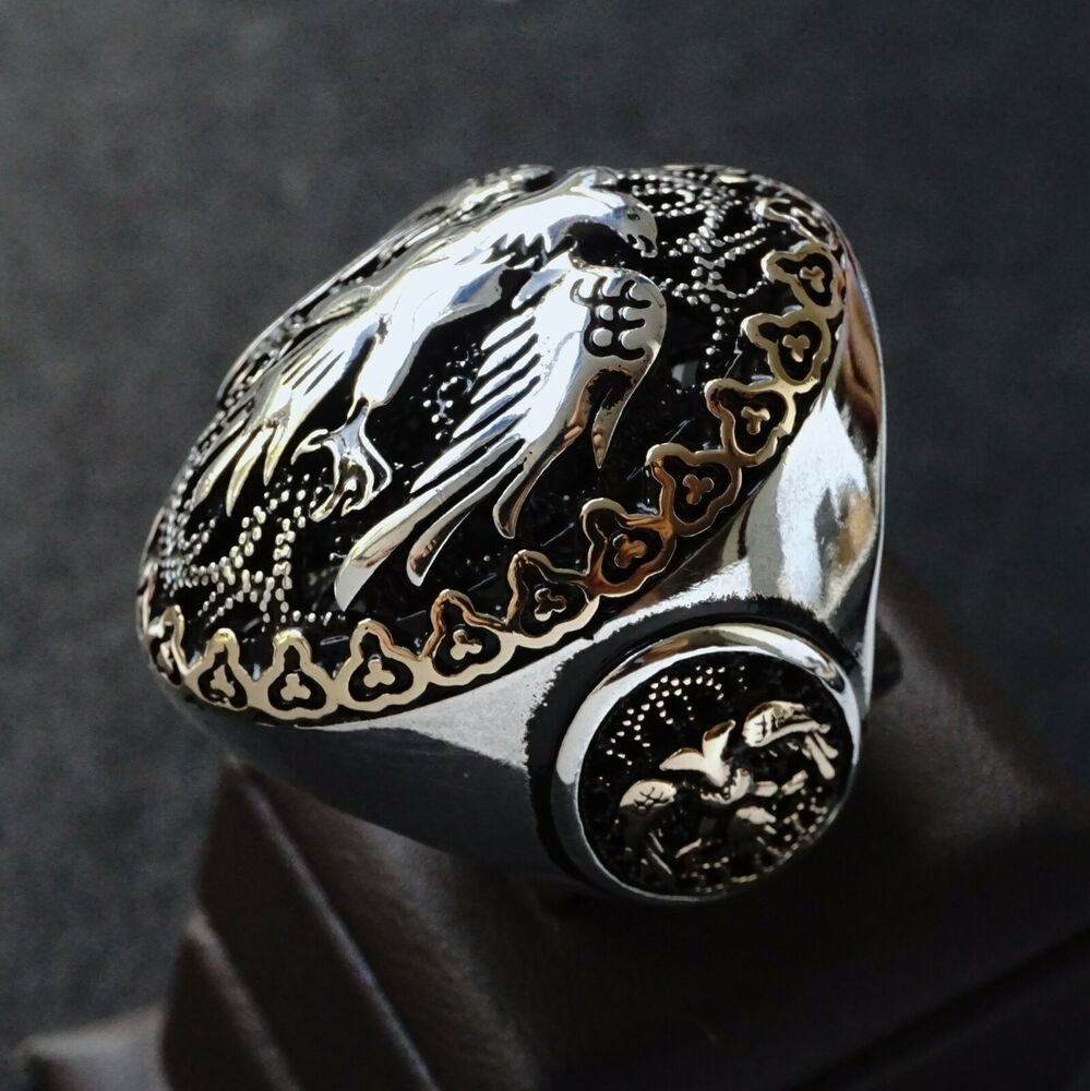 925 Sterling Silver Mens Ring Double Headed Eagle Heavy