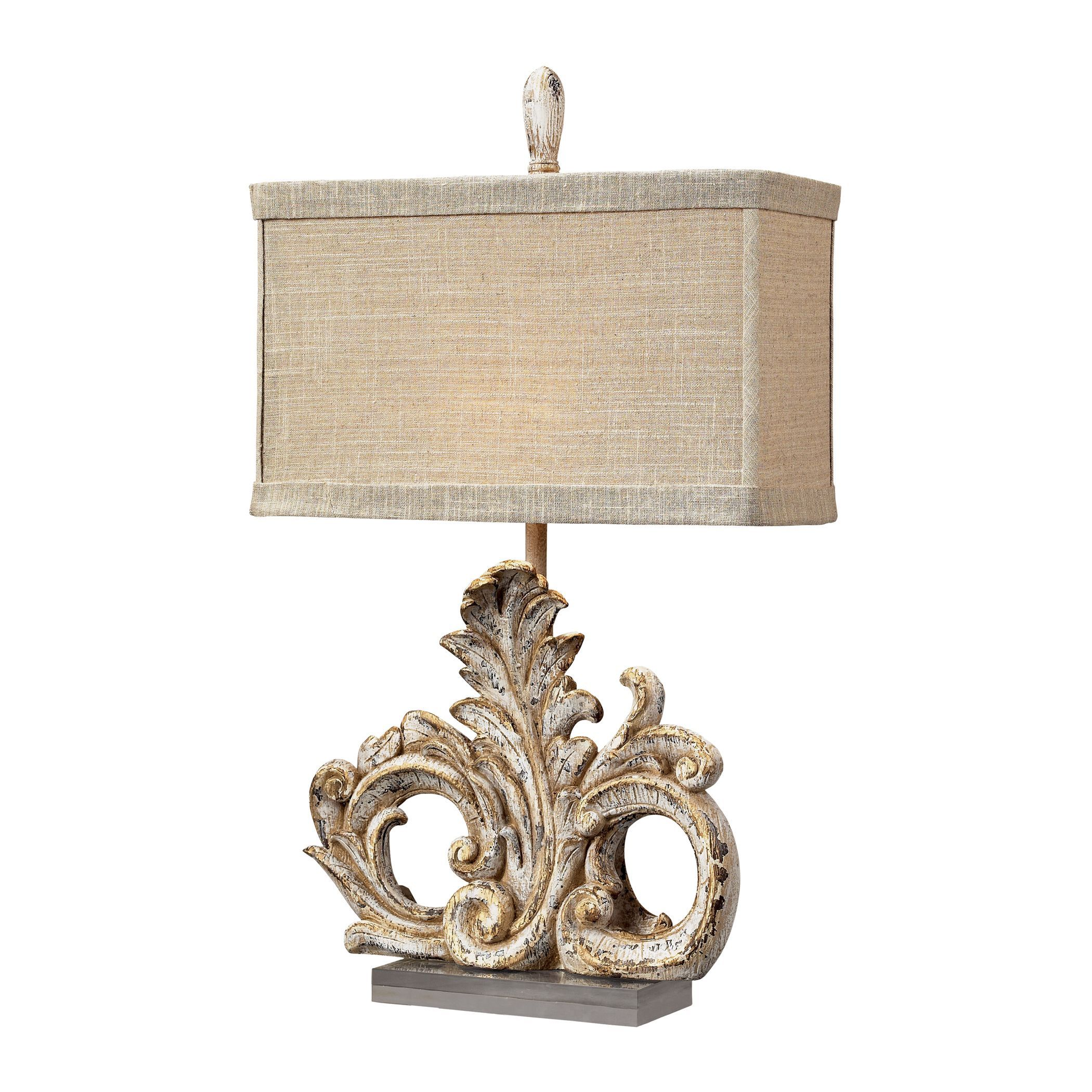 This Classy Table Lamp Features A Beautiful Presidente Finish, Complemented  By A Sand Colored