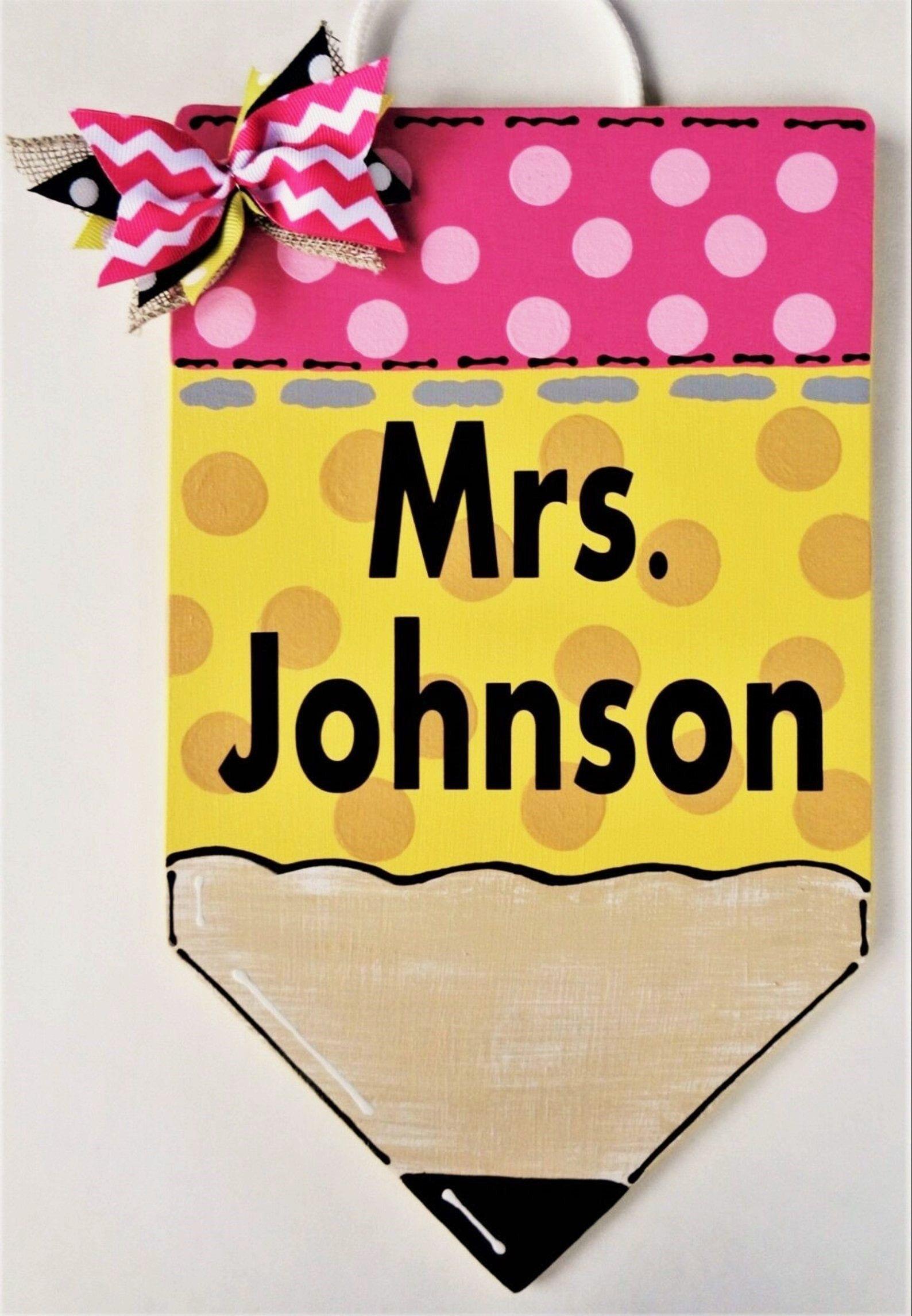 Personalize TEACHER PENCIL SIGN Name Plaque School Class Cla…