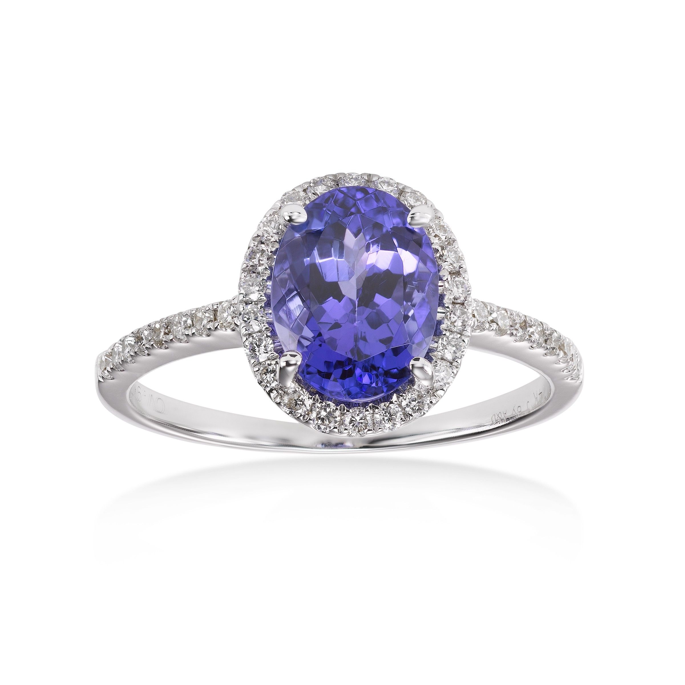 Tanzanite is the third and newest of December's appointed birthstones -- lucky you, born this month! This lovely oval tanzanite and diamond ring isin a 14k white gold setting. We have a number of lovely tanzanite rings among our December birthstones. Click link to see!