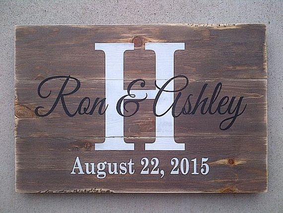 Personalized couple name sign with initial and by