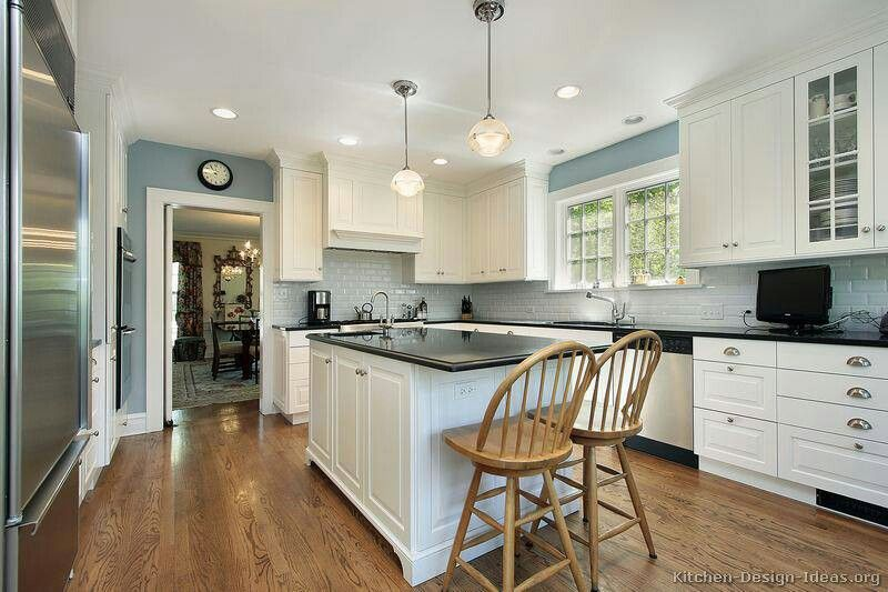 Pictures Of Kitchens Traditional White Kitchen Cabinets Page 6 Grey Blue Kitchen Blue Kitchen Walls White Kitchen Traditional