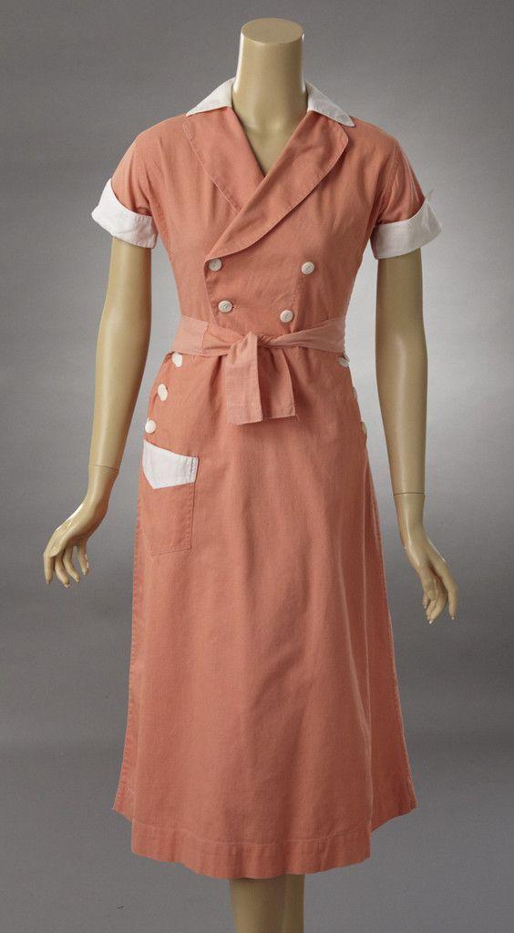 dfa9a9cd0210 Flamingo Pink Cotton Waitress Dress | Woodland Farms Vintage | 1940s ...