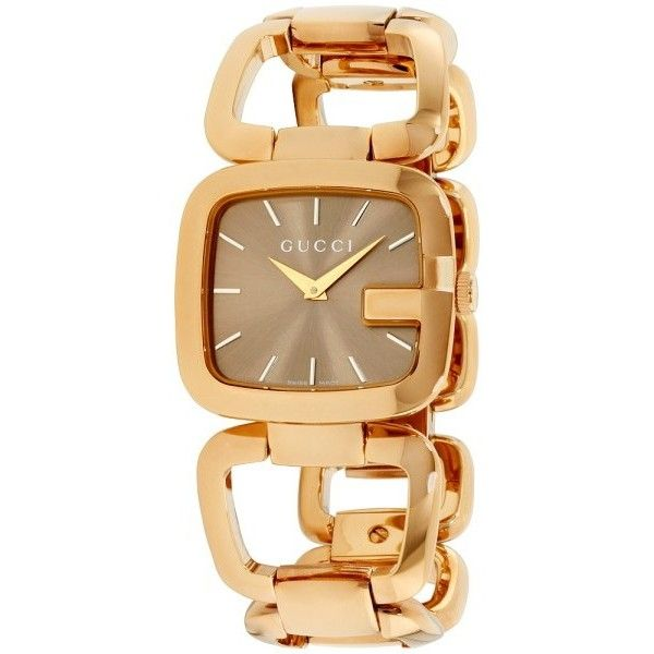 fd3320df8e4 Pre-owned Gucci G-Gucci YA125408 Gold Plated Stainless Steel Quartz...  (2.520 BRL) ❤ liked on Polyvore featuring jewelry and watches